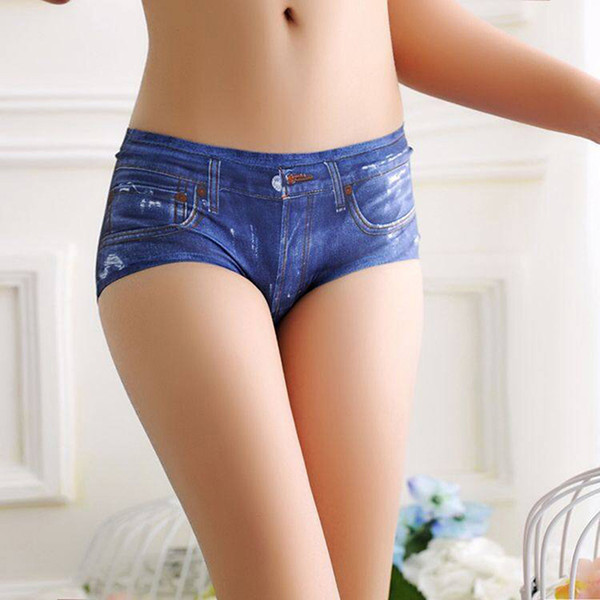 3D Underwear Sexy Seamless Panties Women's Briefs Jeans Printed Panties Cute Female Blue Underwear Panty Tanga Bragas AQ931529