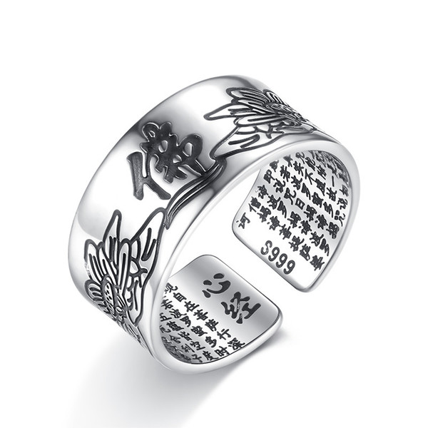 Promotion 925 sterling silver men buddhism letter gift man finger open rings jewelry no fade wholesale cheap ring boy