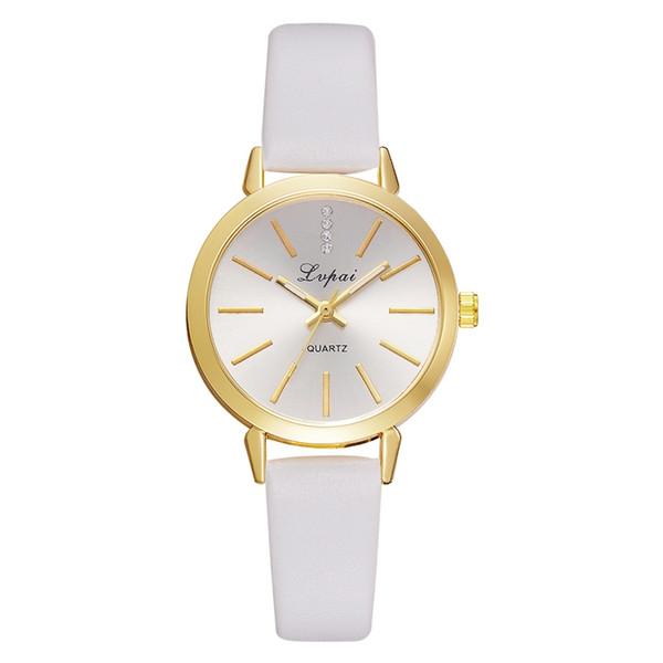 Lvpai Marca PU Cuero Cuarzo Reloj Mujeres Casual Oro dial Deporte Mujeres  Reloj de pulsera Conciso d54424aacfca