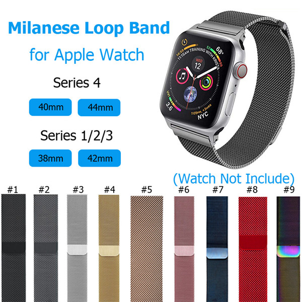 Metal Watchband Milanese Loop Strap for Apple Watch Band 38mm 42mm, Stainless Steel Magnetic Buckle Mesh Wristband for iWatch 1/2/3/4