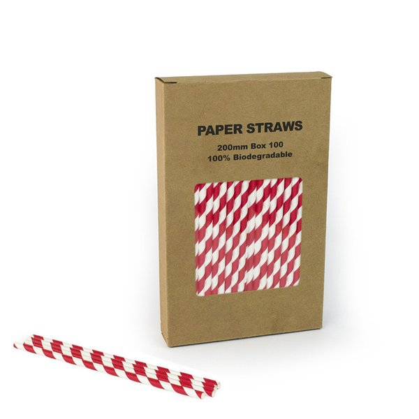 Free Shipping 100pcs/box Red Paper Straw Striped Chevron Polka Dot Drinking Straws For Birthday Wedding Decorative Party