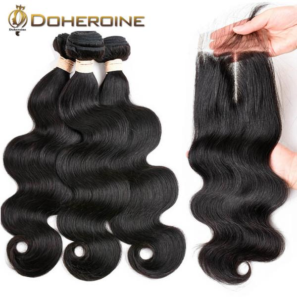 Paquetes brasileños de la onda del cuerpo con el encierro 4x4 Paquetes libres del pelo humano de la parte con los cierres del cordón Pelo natural de Remy Color