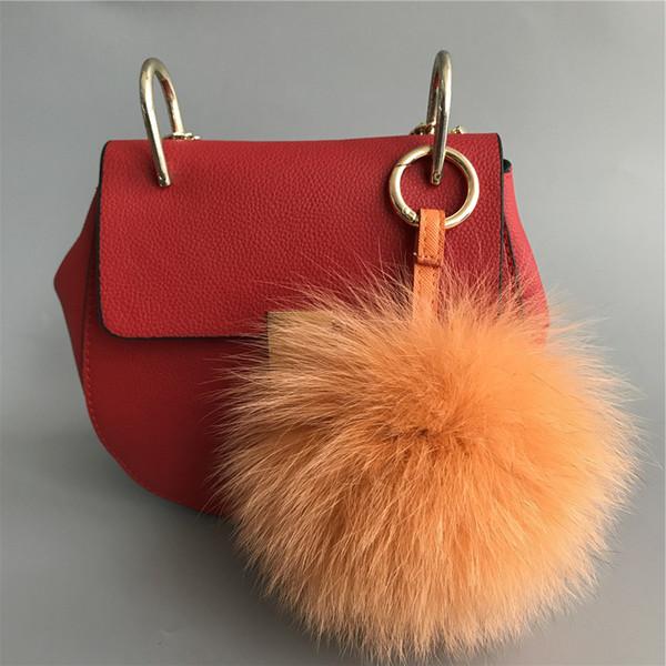 "5"" Orange Soft Real Fox Fur Smile Face Pom Pom Ball Bag Charm Keyring Pendent"