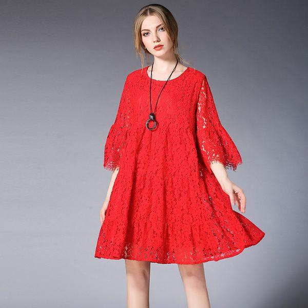 Spring New Plus Size Dresses Lace Hollow Out Fold Show Thin Dress Oversize  Maternity Dress Elegant Mini Dress XL To 5XL Elegant Dresses Polka Dot ...