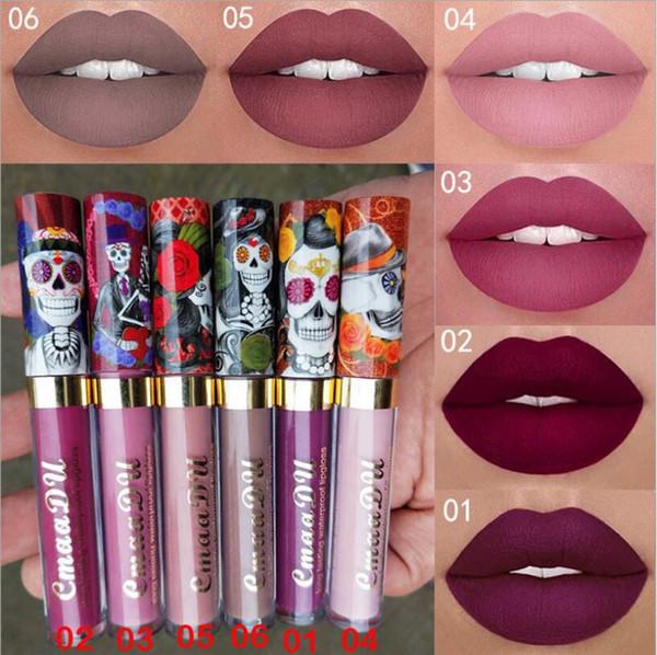 Die Mode Farbe Make-up 6 Farbe Matt Metall Perlen Licht Schädel einzigen Lippenfarbe Lippenstift