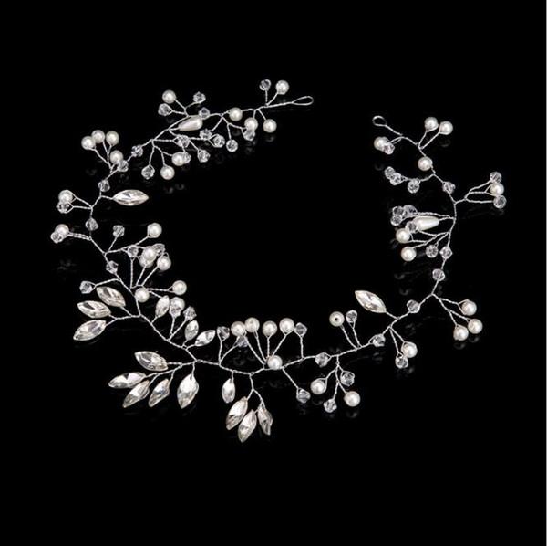 Handmade wedding dress headwear, bride jewelry, crystal pearl, silver hair band