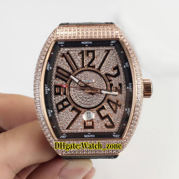 New MEN'S COLLECTION Vanguard Date V 45 SC DT Diamond Dial Automatic Mens Watch Rose Gold Diamond Case Leather/Rubber Strap Watches