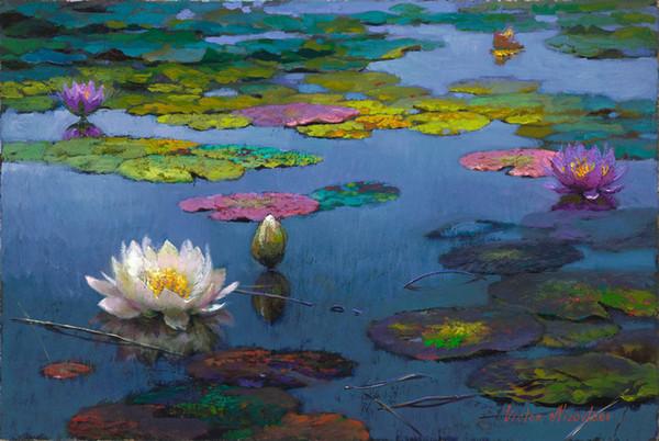 Victor Nizovtsev Paysage Peinture à l'huile Lotus étang sous la Reproduction Art Giclée Print sur Toile Moderne Mur Accueil Art Décor VN04