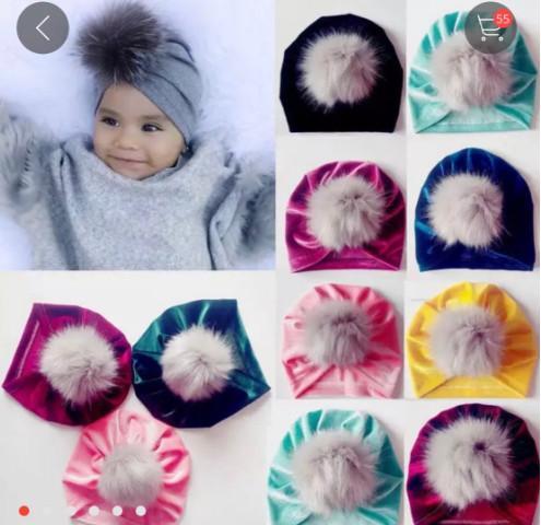 Bady faux fur pompon hats kids Pleuche beanies hot sell Newborn hair ball hat baby girls velvet beanie 10 colors A01272