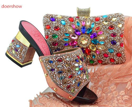 Peach Italian Matching Shoes With Bag Set For Evening Party African Women Sandal And Bag Set For Free Shipping FG1-3205