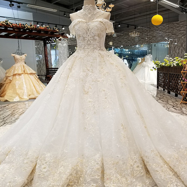 LS60010 luxury wedding gown collar chain decorate off shoulder sweetheart bride wedding dresses with beaded shoulder train