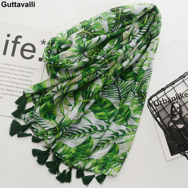 Guttavalli Women Spring Fresh Green Monstera Big Leaf Tassels Long Shawl Female Flowers Print Wraps Chevron Sunscreen Scarves S18101904