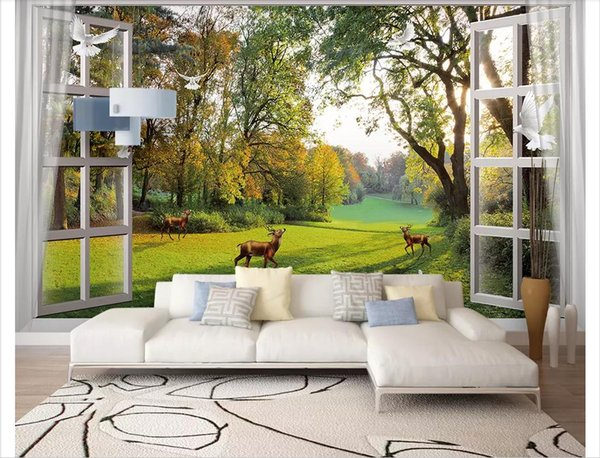 Wholesale-Customized photo wall mural wallpaper Out of the window scenery woods small river side deer pigeons dream TV background wall decor