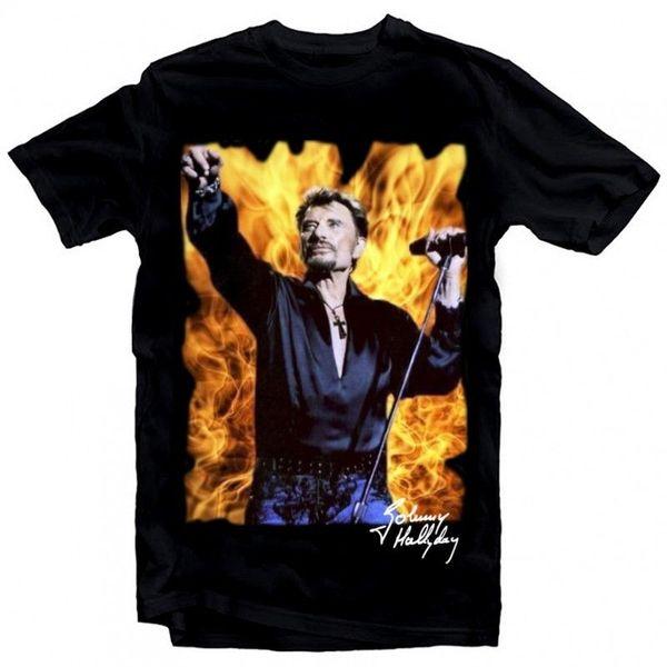 T-Shirt Johnny Hallyday feu - homme noir / FD0273 /