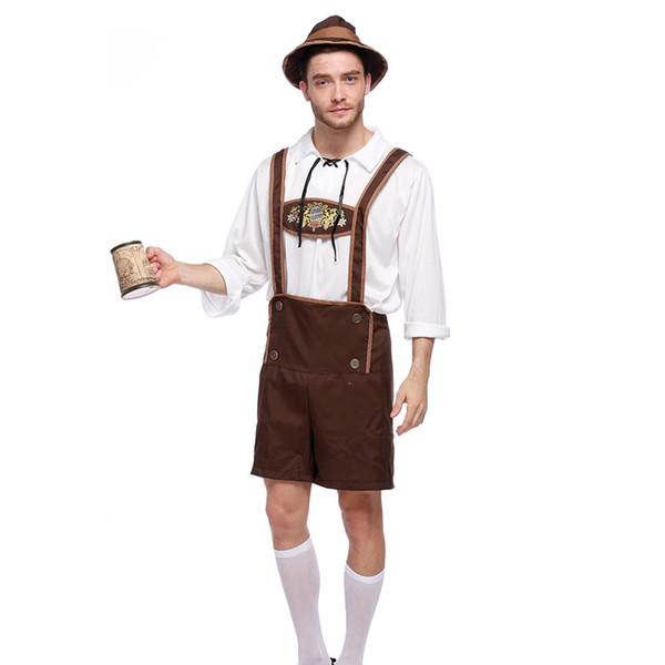 Men Oktoberfest Cosplay Costume Set Bavarian Octoberfest German Festival Beer Adult Halloween Costumes Hat Top suspenders stage performance