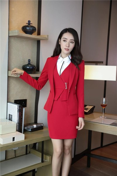 Fall Winter EleRed Formal 2 Piece Blazes Suits With Tops And Dress For Office Ladies Uniform Styles Blazers & Jackets Sets
