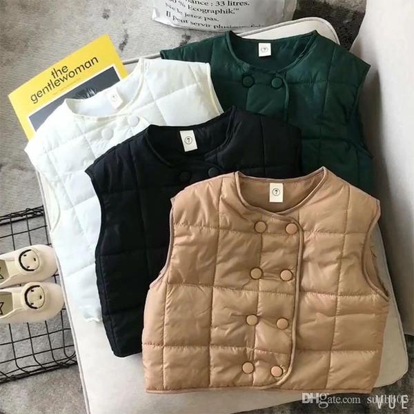Yeni Sonbahar Kış Çocuk Boys Kız Yelek Bebek Kolsuz Ceket Kruvaze Dış Giyim Hırka Ceket Çocuk Yelek 4298