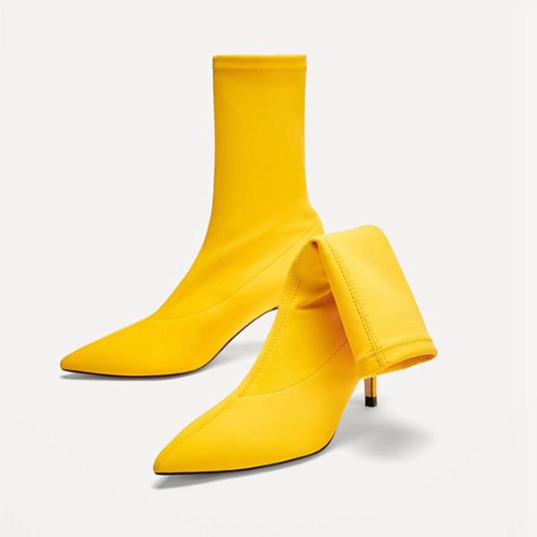 2019 новых женщин сапоги стрейч середины икры сапоги острым носом женщин пинетки обувь сплошной цвет эластичная ткань весна и осень