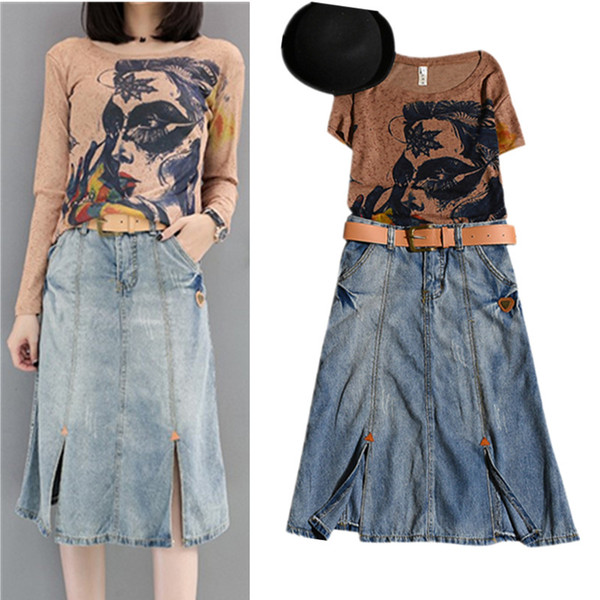 New With Belt! Spring Summer Women's Fashion Twinset Set Coffee Cool Ladies Print Tees Tops And Denim Jeans Skirt Suits NS950