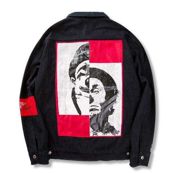 Payaso Patchwork Denim Jackets Men High Street Turn-down Collar Men's Jacket