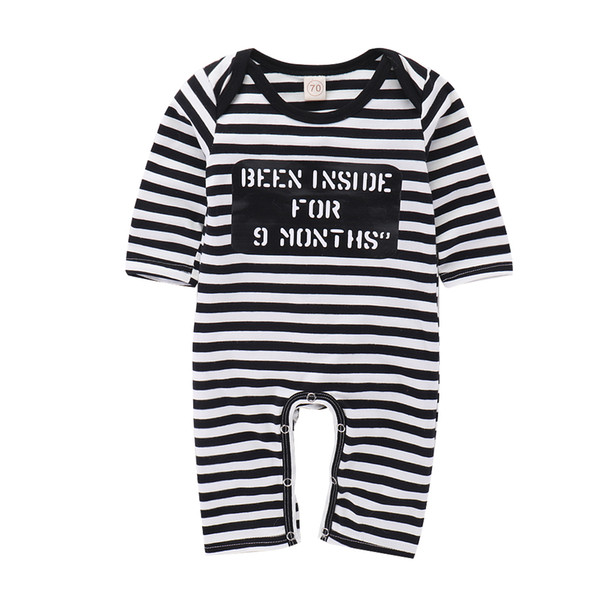 Mikrdooo Toddler Baby Boys Girls Romper Clothes Long Sleeve Striped Letter Printed Jumpsuit Newborn Cute Bodysuit Clothing