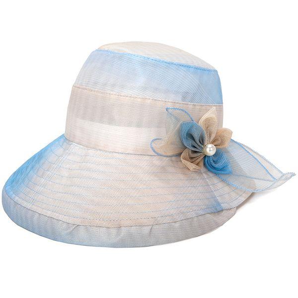 2018 Summer Floral Bow Women Fashion New Wide Brim Beach Travel Young Lady  Sun Mesh Hat 6c47eaf5350a