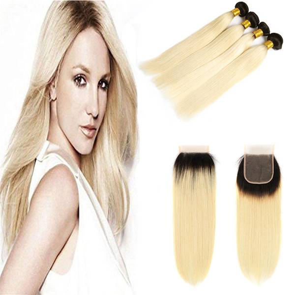 Color 1B/613# Blonde Human Hair Weave 3 Bundles with Free Part Lace Closure Platinum Ombre Brazilian Blonde Straight Remy Hair Extensions