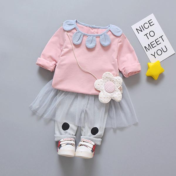 Осень костюм девочка комплект одежды 2018 с длинным рукавом хлопок розовый серый цветок футболка + леггинсы юбка 2 шт. наборы младенческой девочки одежда