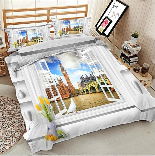 Autumn landscape Europe and America ancient tower printing bedding Nordic series photos 3d quilt bed linen