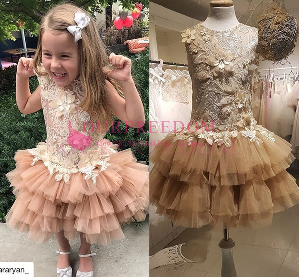 2019 Princess Short Mini Flower Girls Dresses Jewel Neck Lace Appliques Tiered Skirts Girls Birthday Party Gown Frist Communion Dresses
