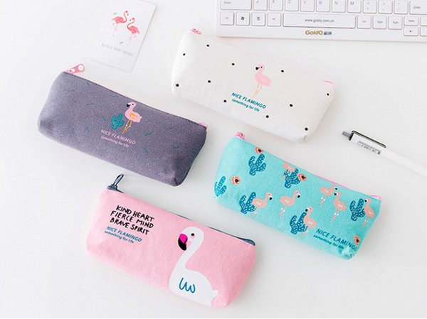 wholesale free shipping pencil case 40pcs\lotCute flamingo canvas pen bag zipper large - capacity stationery bag pencil case026