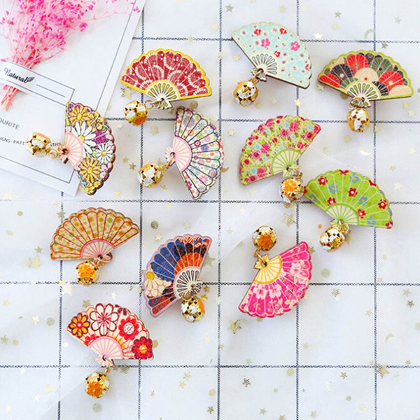 Retro Japan Style Fan Bells Hairpins Hair Clips Jewelry Japan Cartoon Fan Shape Barrette Headwear Women Girls Hair Accessories