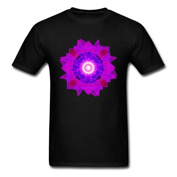 Shine Mandala Pattern Image Men T Shirts Autumn 100% Cotton Tees For Men Custom Fashion Tee-Shirts Simple T Shirt On Sale