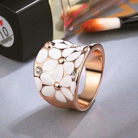 Beautiful Rose Gold Color Rhinestones Enamel Craft Classic White Lovely Daisy Design Lady Finger Ring Wholesale