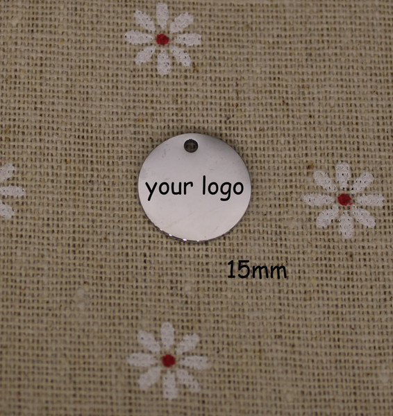 Étiquette faite sur commande de bijoux, étiquette en acier inoxydable en métal adaptée aux besoins du client avec le logo de laser gravé sur les étiquettes rondes de disque 3 couleurs disponibles