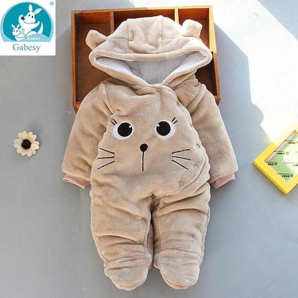 2018 recién nacido Fleece Infant Baby girl Animal Bear Style Niños guardapolvos Recién nacidos Ropa linda para bebés Footies pijamas con capucha