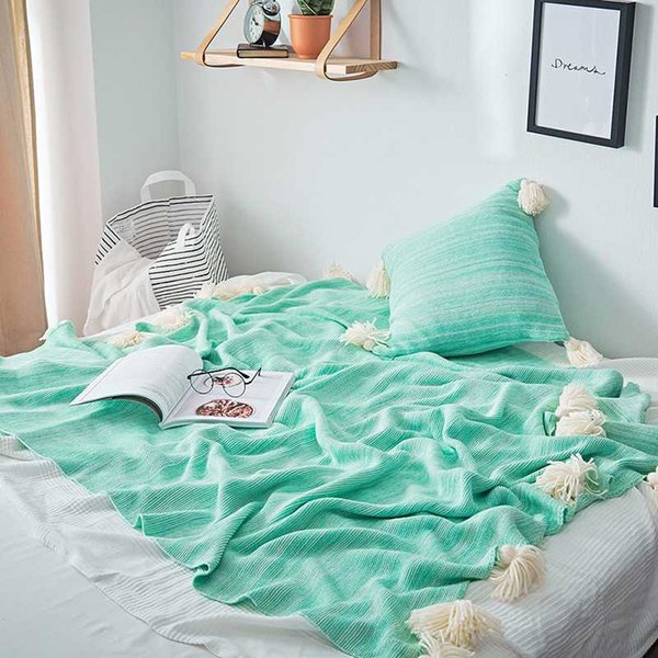 High Quality Cotton Knitted Blanket Bed Sofa Office Decorative Throw Blanket Multi Use Geometric Nap Cushion