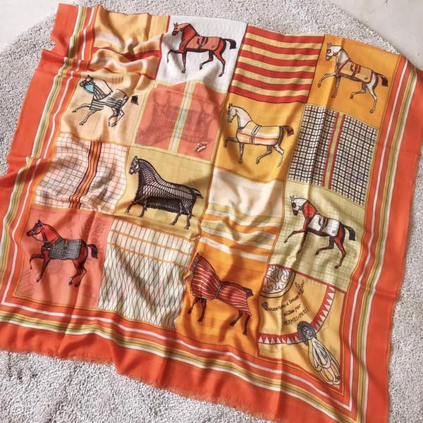Women Winter Warm Horse Print Pashmina Shawls France Brand Poncho Stole Orange Joker Big Pashmina Cashmere 200*100cm