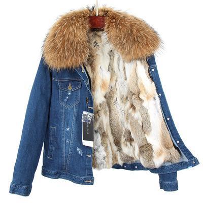 Fashion Brown raccoon fur trim girl snow coats brown white rabbit fur lining navy blue demin coats
