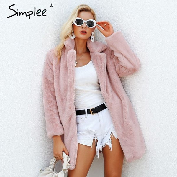 Simplee Elegant faux fur coat Women 2018 Autumn winter warm soft fur coat Female casual streetwear fashion party overcoat