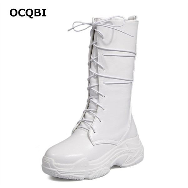 OCQBI 2018 New Wedge White Boots Winter Round Toe Black Casual Punk Motorcycle Boots Lace Shoes Platform High Heels Shoes