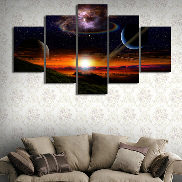 Wall Artwork Canvas Prints Modular Painting Decoration Space Abstract Galaxy Modern Pictures Cheap Framework Poster Uk 2019 From Z793737893 Uk 8 67