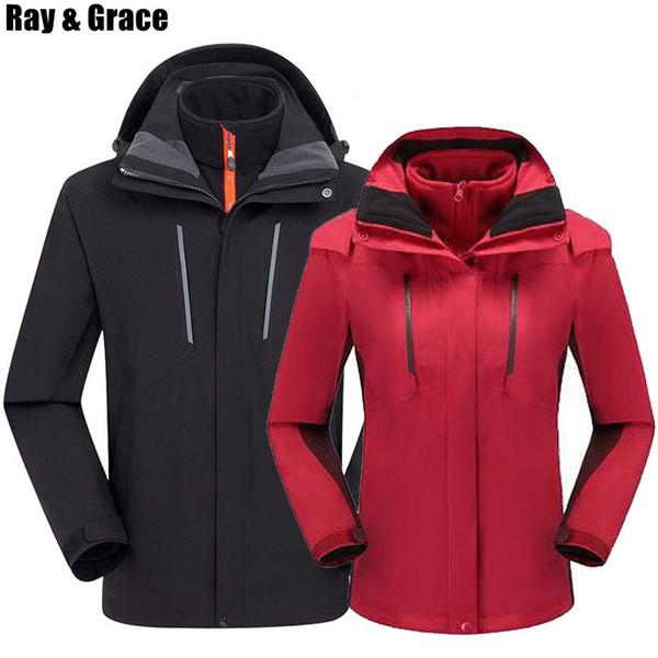RAY GRACE Kış 3 In 1 Ceket Açık Spor Yürüyüş Ceket Erkekler Su Geçirmez Ceket Kamp Trekking Kayak Polar Termal Ceketler