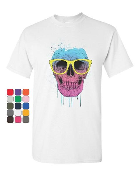 Camiseta de calavera con gafas Neon Dripping Bleeding Skull Camiseta para hombre