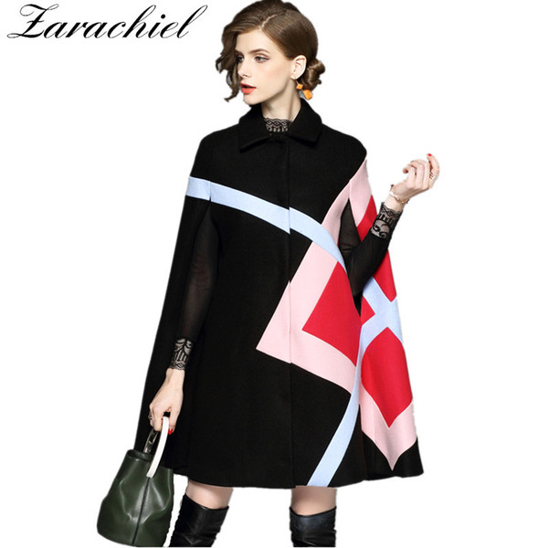 New 2018 Fashion Women Winter Jacket Geometric Pattern Batwing Sleeve Woolen Warm Cloak Ponchos Cape Coat Wool Blends Outerwear L18100706
