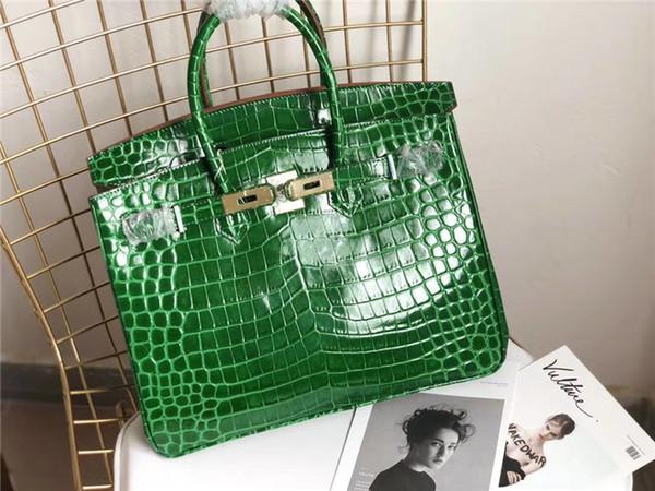 Fashion ladies 2020 gold platinum bag crocodile handbag full leather bag durable top quality, top layer cowhide size 35CM cm wide good packa