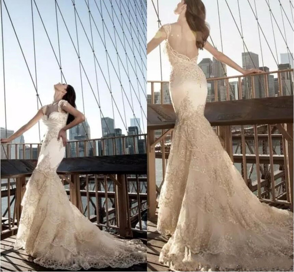 Pnina Tornai Gorgeous 2018 Lace Wedding Dresses Romantic Backless Mermaid Bling Crystal Tiered Sweep Train Bridal Gowns Wedding Dress