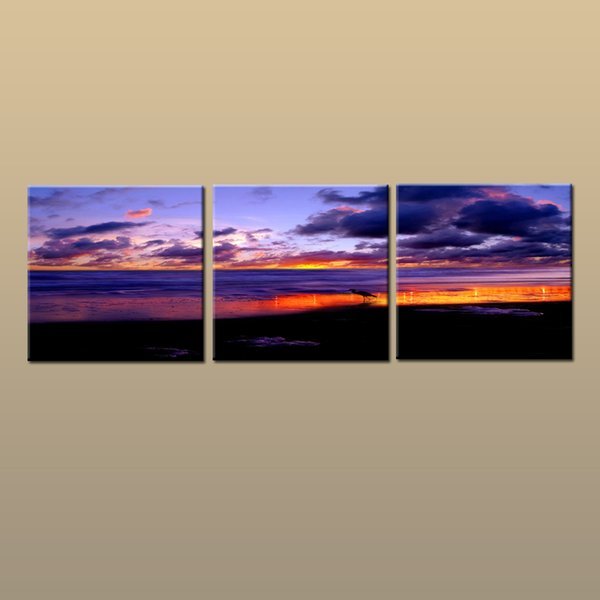 Framed/Unframed Hot Modern Contemporary Canvas Wall Art Print Painting Beach Sunset Seascape Picture 3 piece Living Room Home Decor ABC251