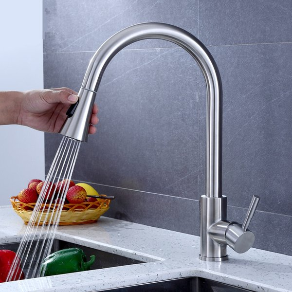 304 Stainless Steel Pull Out Kitchen Faucet Kitchen Mixer Lead-free Tap 360 degree Rotating torneira cozinha