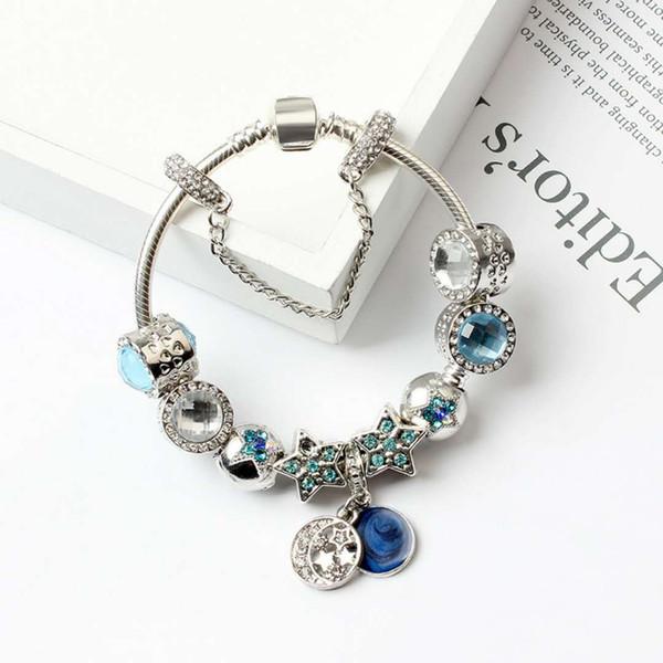 Nouveau Charme Pandor Bracelets Blue Cats Yeux Perles Bracelet 925 Bracelets En Argent Étoiles Brillantes Lune Bracelet Diy Bijoux avec logo original